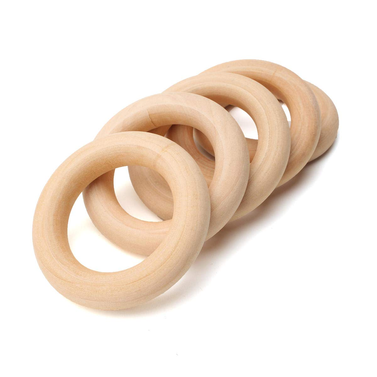 Amazon Com Okil 20pcs Natural Wooden Rings Unfinished Ring