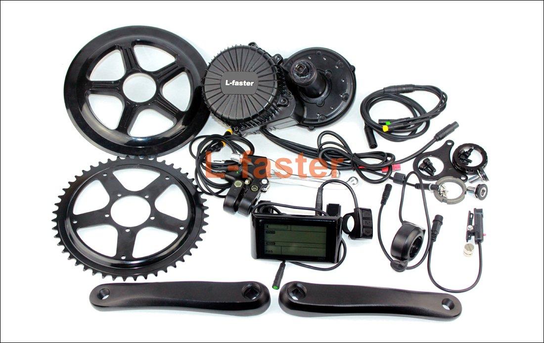 750ワット電動バイクミドル取付変換キット付き液晶ディスプレイmid-ドライブ電動自転車エンジンキットe-バイククランクセットドライブ [並行輸入品] B07B9TRVTY 48V750W