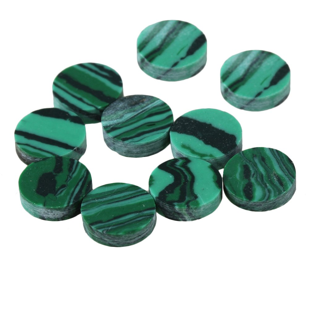 BQLZR 6.2x1.6mm Round Shape Green Malachite Guitar Fingerboard Marker Dot for Electric Guitar Acoustic Guitar Bass Pack of 10 BQLZRN25584