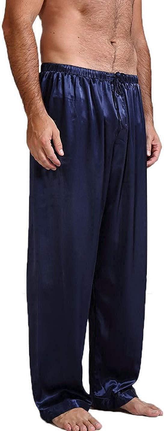 Mens Silk Satin Pajamas Shorts Sleep Nightwear Sleepwear Short Pants Drawstring