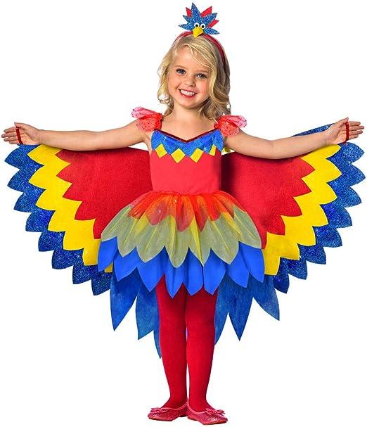 Disfraz de hada con papagayos para niña, con alas XL, fantasía ...