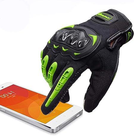 Artop Motorradhandschuhe Touch Screen Anti Rutsch Anti Kollision Motorrad Handschuhe Sehr Guter Schutz Für Herren Grün L Auto