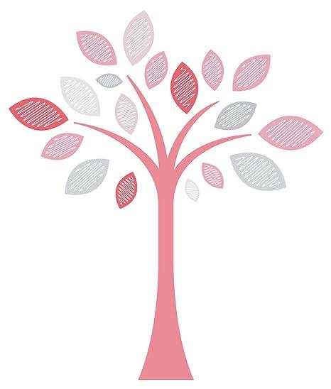 Pegatina de pared cuarto de los niños Árbol en colores de niña con hojas árbol de