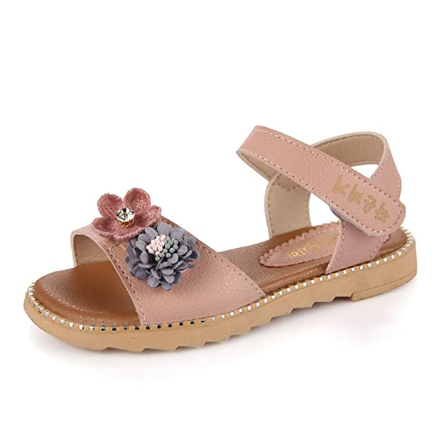 Mubeuo Flowers Leather Fashion Summer Kids Sandals for Girls