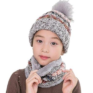 2PC Bonnet + Echarpe Tricoté Hiver avec Pompom pour Enfant Fille - Ensemble  2 Pièces Chapeau 18808a8136a