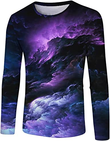 Cocoty-Store 2019 Hombre Camiseta Manga Larga Camisetas Deportivas Hombros Otoño Blusa Elegante Casual Top Shirt Morado, S/M/L/XL/XXL/XXXL: Amazon.es: Ropa y accesorios