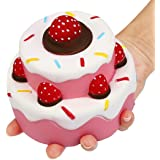 Nibesser Jumbo Scented Slow Rising Squishies Cheeki Pink Strawberry Cake Squishy Kawaii Squishy Toys For Kids And Adults Blue (Cake)