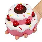 Nibesser Jumbo Scented Slow Rising Squishies Cheeki Pink Strawberry Cake Squishy Kawaii Squishy Toys For Kids And Adults Blue (Cake)
