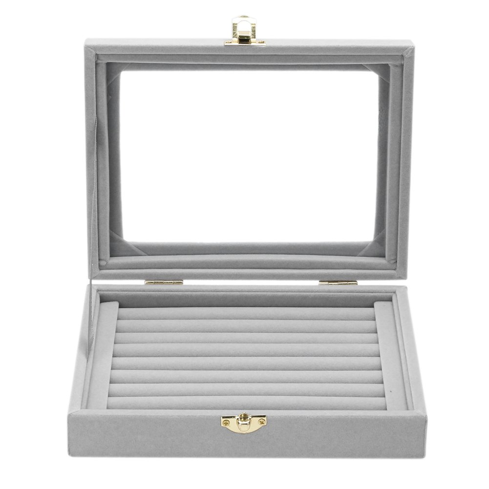 amazingdeal Jewelry Storage Box, Velvet Glass Jewelry Ring Display Box Tray Holder Organizer