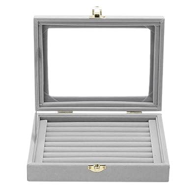 Buy Rrimin Velvet Fabric Glass Jewelry Ring Display Box Tray Holder