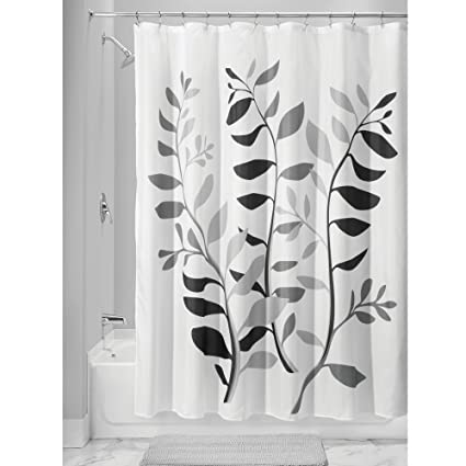 InterDesign Laurel Shower Curtain Standard Gray And Black