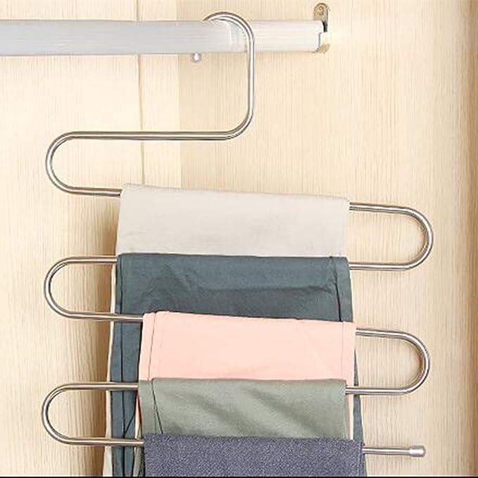 Perchas multiusos tipo S de acero inoxidable, para pantalones, vaqueros, bufandas, corbatas, toallas y abrigos, percha para ahorrar espacio de ...