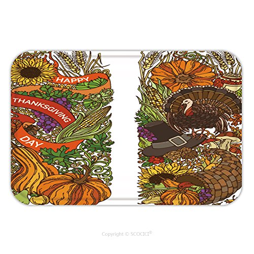 Flannel Microfiber Non-slip Rubber Backing Soft Absorbent Doormat Mat Rug Carpet Vector Colourful Thanksgiving Vertical Ornaments Isolated On White Background. Turkey, Pumpkin, Corn, Horn Of Plenty, A