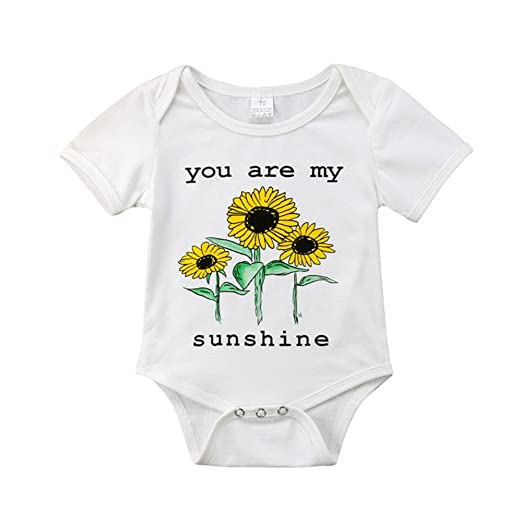 037f9178180e Unisex Newborn Baby Boy Girl Sunflower Romper Bodysuit Short Sleeve Tops  White Shirts Summer Clothes Outfits