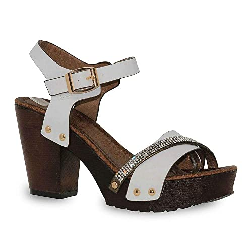 1acec9b969a ShoBeautiful Women s Chunky Platform Clog Heeled Sandal Two Tone Rhinestone  Sling Back Stud Decor Open Toe