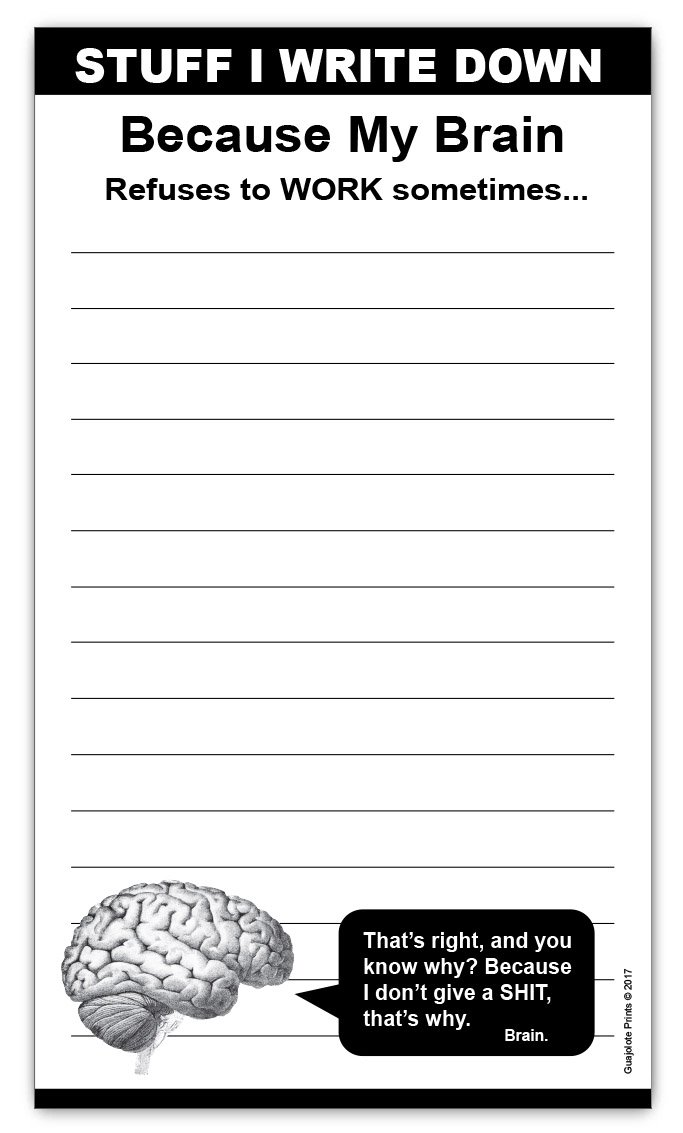 Brain Magnetic Grocery List Notepad - 4.25 x 7.5 inches, 50 sheets, funny office gift