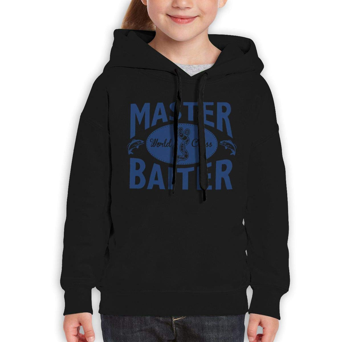 Boys Girls Master World Class Baiter Teen Youth Hoodies Black