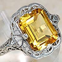 Ransopakul Elegant 925 Sterling Silver Citrine Gem Ring Women Wedding Bridal Jewelry (7)