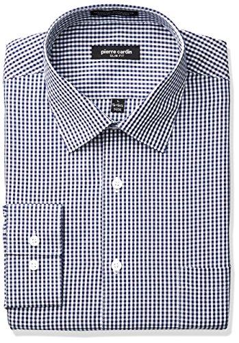 Pierre+Cardin+Men%27s+Plaid+Or+Check+Slim+Fit+Semi+Spread+Collar+Dress+Shirt%2C+Navy%2C+15%22-15.5%22+Neck+32%22-33%22+Sleeve