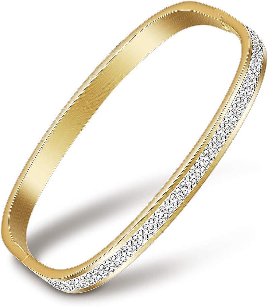 SHANGZHIQIN Pulsera de Acero Inoxidable para Mujeres Europeas y Americanas, Abierta 2 hileras de Joyas con Pulsera Cuadrada de Acero Titanium de Diamante, 70 * 50 cm de Oro