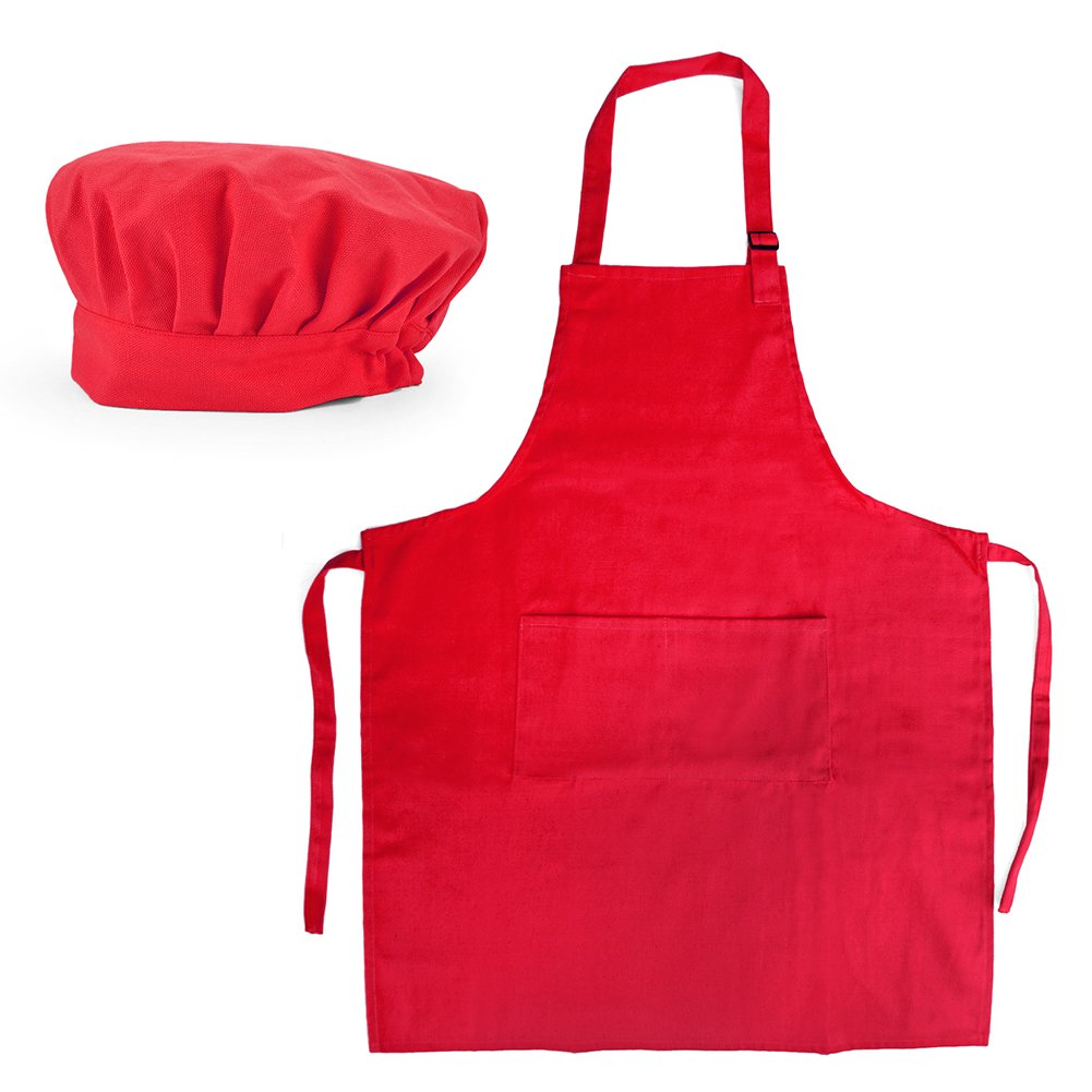Opromo 12-Pack Cotton Canvas Adjustable Apron and Chef Hat Set-Red-L by Opromo