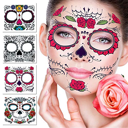 Temporary Face Tattoo,4 Kits Tattoos Sugar Skull Stickers Day of The Dead Makeup, Face Tattoo Rose Design for Halloween, Masquerade and Parties (Face stickers) -