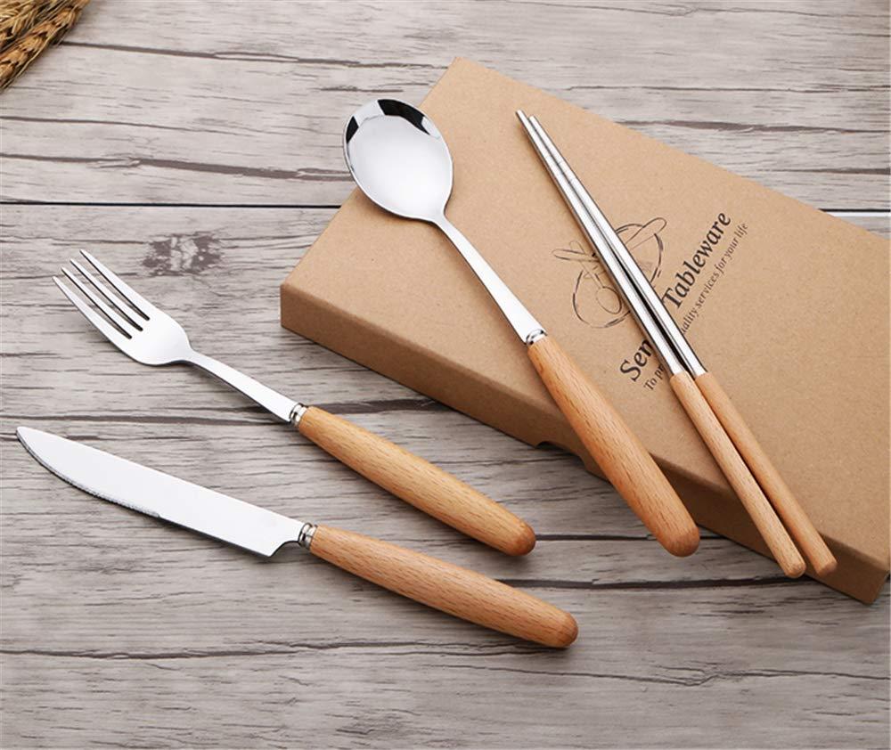 caja verde grande Juego de cubiertos con mango de madera Cuchillos para carne occidental Cuchillos de acero inoxidable Cuchara juego de cuatro piezas