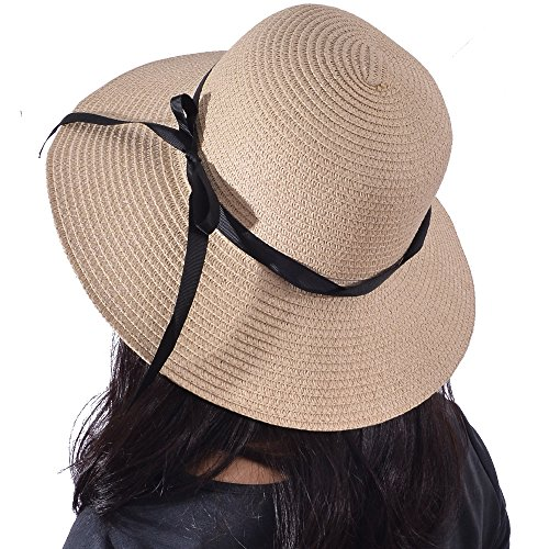 18925fc15b9 Yeeasy Womens Wide Brim Sun Hat Floppy Foldable Bowknot Straw Summer Beach  Hat (Beige1)