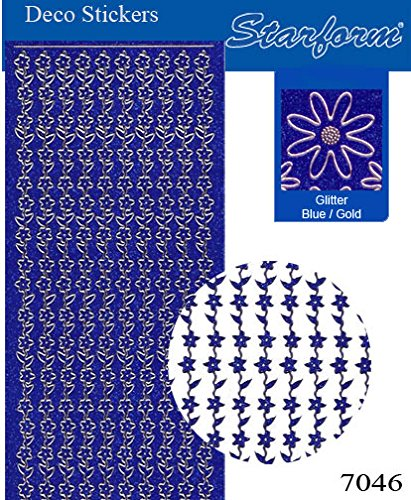 (Ecstasy Crafts Deco Sticker Flowers & Leaf Border -Glitter Blue)