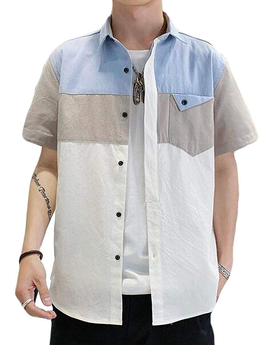 Domple Mens Big /& Tall Button Down Short Sleeve Pockets Utility Shirts