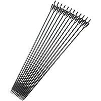 """MILAEM Flecha de Fibra de Vidrio DE 30"""" Flechas de Tiro con Arco Flecha de Práctica de Caza con Arco con Punto de Campo para Lazo Recio (Paquete DE 12)"""