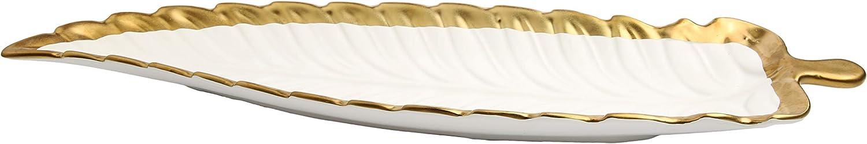 Porcelain Leaf Shaped Platter Dish with Gold Edge (WHITE)