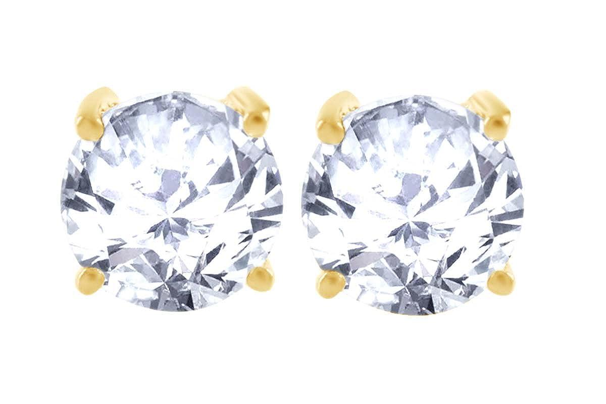 White or Rose Gold Basket Set Cubic Zirconia Stud Earrings 14k Yellow
