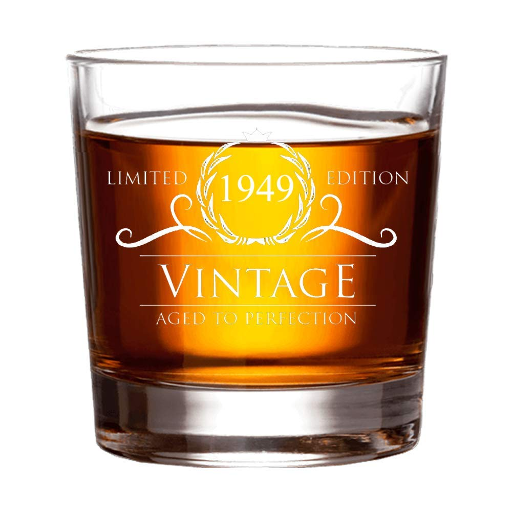 1949 Birthday Gifts for Women and Men Whiskey Glass - Funny Vintage Anniversary Gift Ideas for Him, Her, Dad, Mom, Husband or Wife. 11 oz Whisky Bourbon Scotch Glasses. Party Favors Decorations