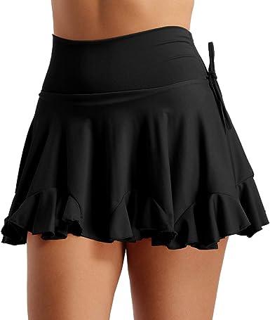 iixpin Falda de Danza Latina Tango para Mujer Falda con Volantes ...
