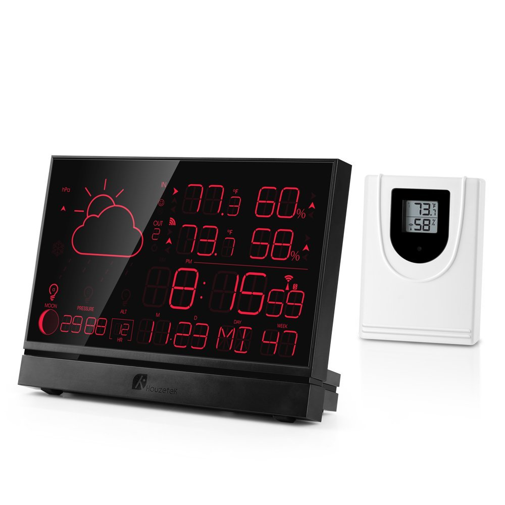 Houzetek Weather Station, 5006B Indoor Outdoor Thermometer - Weather Station for Home with 7 Convertible Colors, Temperature and Humidity Monitor, Moon Phase, 7.5inch Screen Display & Atomic Clock
