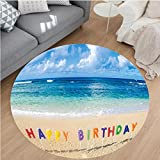 Nalahome Modern Flannel Microfiber Non-Slip Machine Washable Round Area Rug-Decorations Happy Birthday Sign on the Tropical Beach in Hawaii Sweet Surprise Multicolor area rugs Home Decor-Round 67''