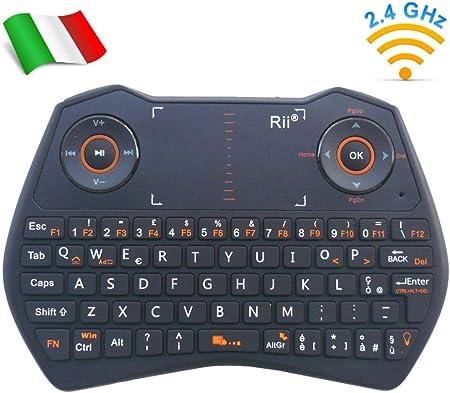 Rii Mini i28 One Wireless (Layout Italiano) – Mini teclado retroiluminado con touchpad, ratón giroscópico, micrófono y toma de audio Jack 3.5 – Negro