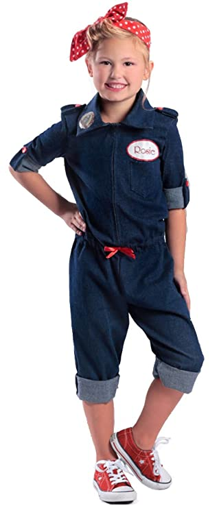 1940s Children's Clothing: Girls, Boys, Baby, Toddler Rosie The Riveter Costume for Kids  AT vintagedancer.com