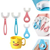 U Shape Tandenborstel Kinderen met zuignap, Kids U-vormige tandenborstel Zachte Siliconen, U-vormige handige…