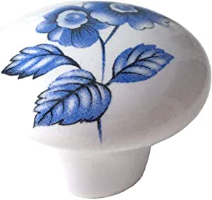 Green foliage ceramic porcelain cupboard knobs White flower Blue brass x 8
