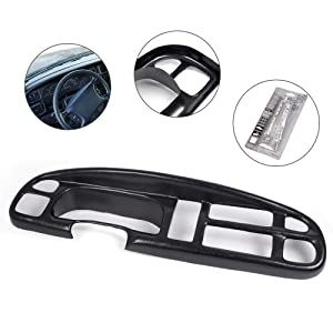 Compatible with 1998-2002 Dodge Ram 2500 3500/1998-2001 Dodge Ram 1500 Truck 2-1/2 Inch Lip Dash Board Bezel Cover Cap in Black (Not a Replacement, Does Not Have Clips)