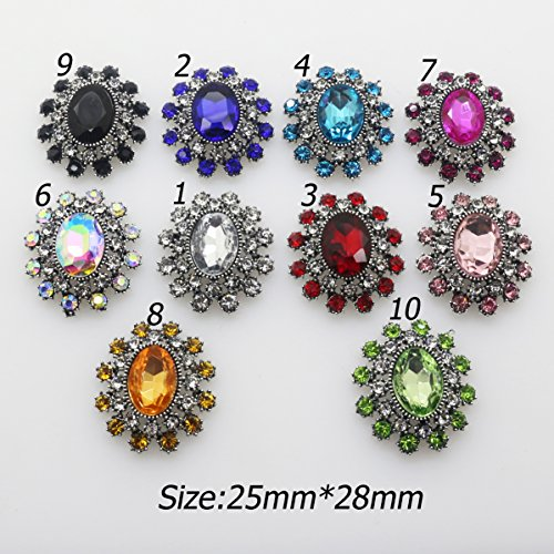 New Vintage 10pcs (mix 10 color) Glass Crystal Rhinestone Button Flatback Embellishment for Hair Flower center DIY Craft (Glass Rhinestone Button)