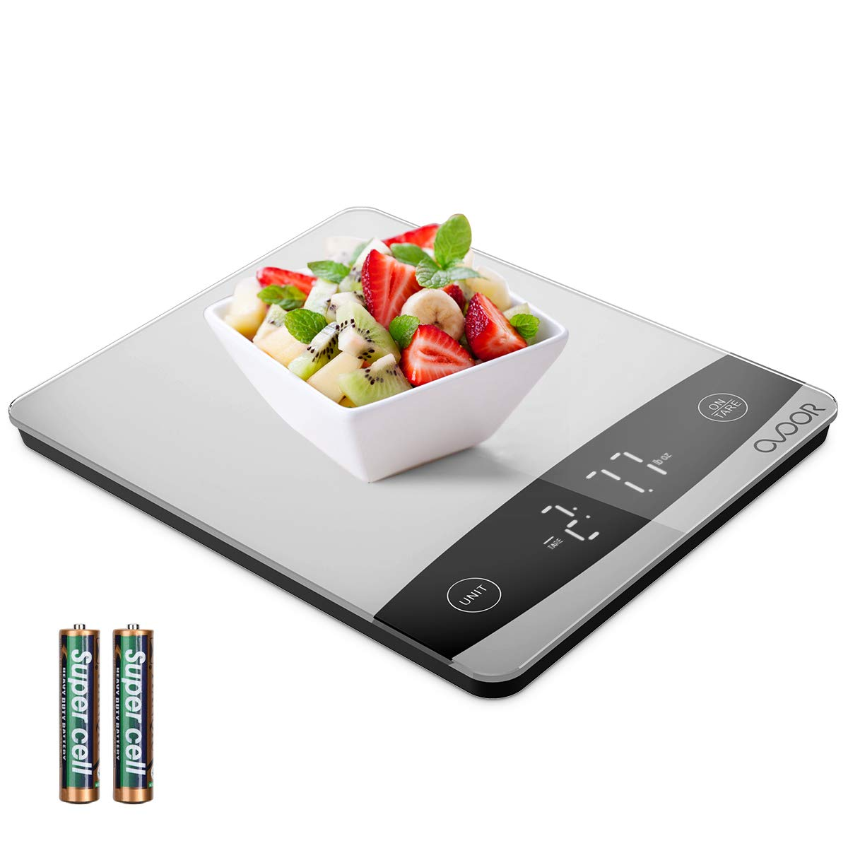 OVOOR Báscula Digital de Cocina 10kg Balanza Alimentos Multifuncional con Superficie de Vidrio Templado y Pantalla LED para Peso de Comida (Baterías Incluidas)
