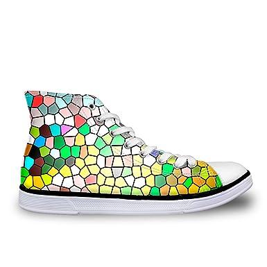958446f844e20 Amazon.com: Santiro Funky Printting Shoes Men Geometry Print High ...