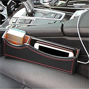Side Pocket Organizer Car Seat Pockets PU Leather Console Gap Filler For