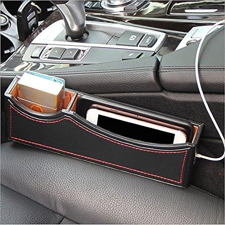 Black Side Pocket Organizer Car Seat Pockets PU Leather Car Console Side Organizer Seat Gap Filler for Cellphone Wallet Coin Key Eskyshop1 4350408083