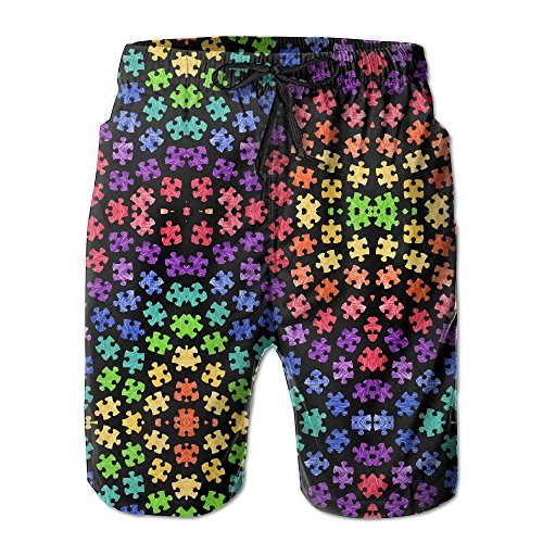 a66cf2adcf Colorful Autism Awareness Puzzle Pieces Men's Summer Casual ShortsL