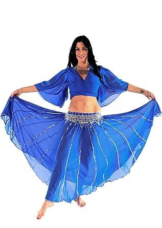 Amazon com: Belly Dance Costume Set | Chiffon Skirt-Top