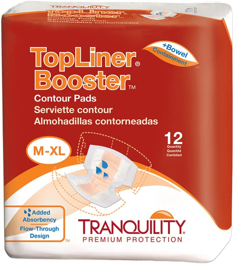 """Tranquility TopLiner Disposable Absorbent Booster Contour Pads for Bowel Incontinence - Contour (21.5"""" x 13.5"""") - 120 ct"""
